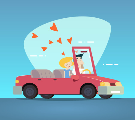 convertible car: Cartoon Convertible Car Happy Male and Female Couple Love Characters Icon Modern Design Stylish Background Retro Flat Design Vector Illustration