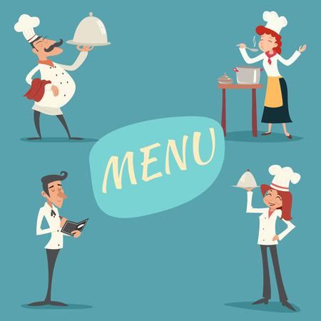 Felice Sorridente Uomo Donna capo cuoco Cameriere Garcon Piatto e accetta l'ordine Simbolo Food Icon su sfondo elegante Illustrazione retro dell'annata Cartoon disegno vettoriale Archivio Fotografico - 35179086