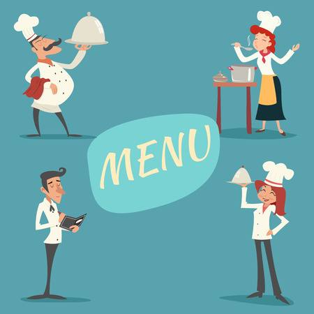 Gelukkige Glimlachende Man Vrouw Chief Cook Waiter Garcon Serveerschaal en accepteert Bestel Symbool Eten pictogram op stijlvolle achtergrond Retro Vintage Cartoon Ontwerp Vector