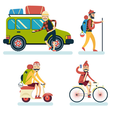 geek: Happy Smiling Man Geek Hipster Character Car Traveler Backpack Schooter Bike Icon Travel Lifestyle Vacation Tourism and Journey Symbol Background Flat Design Template Vector Illustration