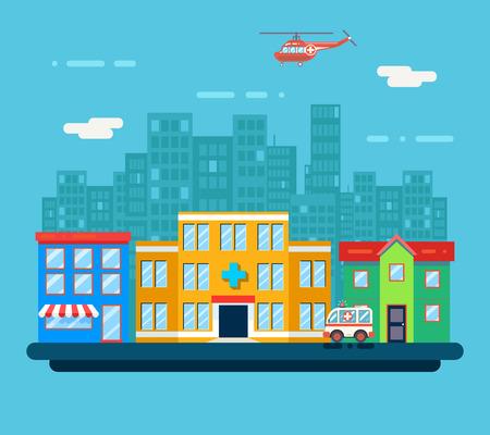 modern hospital: Urban Landscape Hospital Shop Residential House Street Background Flat Design Vector Illustration
