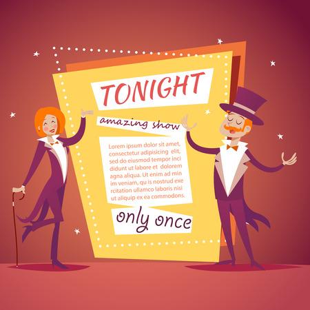 baile caricatura: Anfitrión señora Girl Boy Hombre en juego con el bastón y sombrero del cilindro Anuncios Circo Mostrar icono en el fondo con estilo retro Ilustración de dibujos animados de diseño vectorial