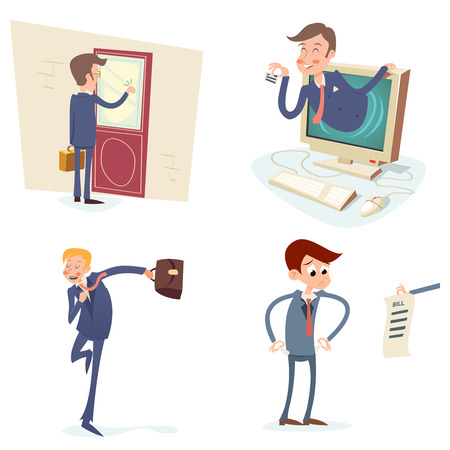 tocar la puerta: Personajes Empresario serie Vintage Icono en el fondo con estilo retro Ilustraci�n de dibujos animados de dise�o vectorial Vectores