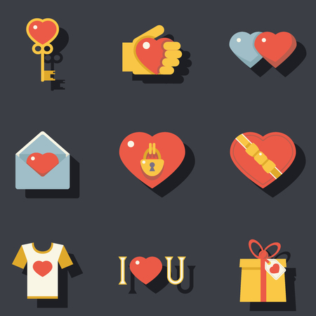 open shirt: St. Valentines Day Symbols Accessories Icons Set Flat Design Template Vector Illustration