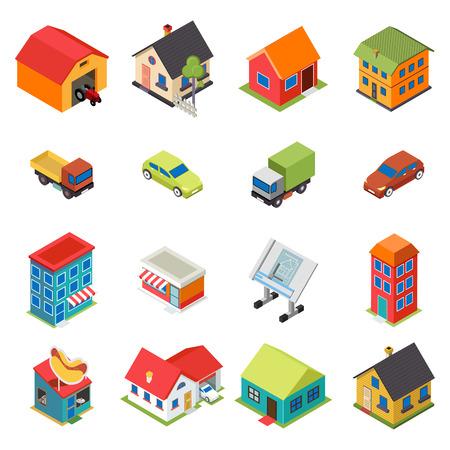 isometrico: Casa isométrica Bienes raíces Iconos de coches Símbolos retro Flat conjunto aislado Ilustración vectorial