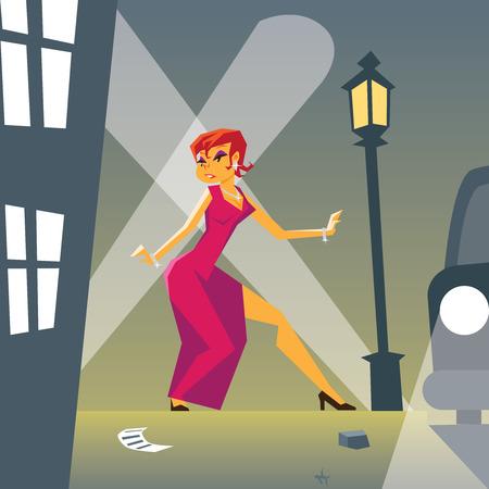 Pin-up Woman in Danger on Stylish Street Background Retro Vintage Cartoon Design Vector Illustration Vector