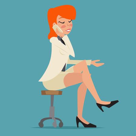 stylish woman: Cartoon Business Woman Happy Smiling Lady Character Talking Mobile Phone on Stylish Background Retro Design Vector Illustration Illustration