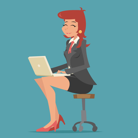 girl using laptop: Happy Smiling Business Woman Lady Character Working on Computer Laptop Stylish Background Retro Cartoon Design Vector Illustration Illustration