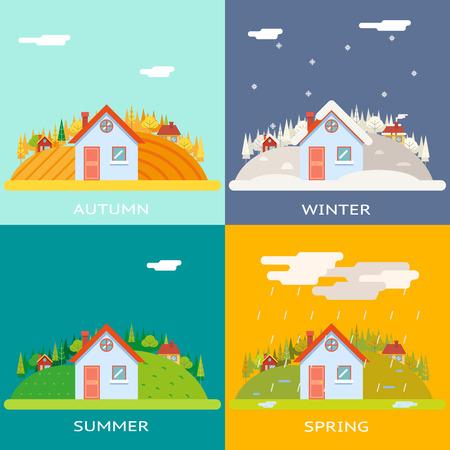 rain window: Seasons Change Autumn Winter Summer Spring Village Hills Field Landscape Icon Website Greeting Card Flat Design Vector Illustration