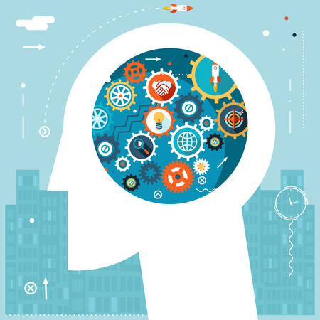 concentration gear: Businessman Head Idea Generation Gear Wheel Icons Space City Start Background Flat Design Vector Illustration