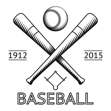 Baseball Logo Symbol Bat Ball Game Field Icon Isolated Vector Illustration  イラスト・ベクター素材