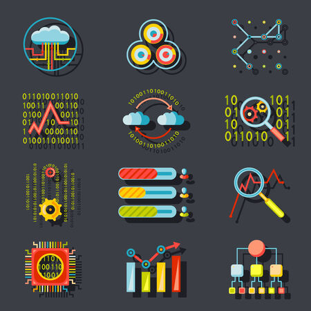 analytic: Data Analytic Web Site Server Icons  on Stylish Background Flat Design Template Vector Illustration Illustration