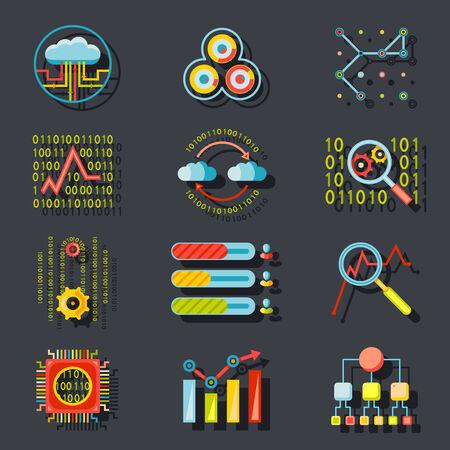 compute: Data Analytic Web Site Server Icons  on Stylish Background Flat Design Template Vector Illustration Illustration