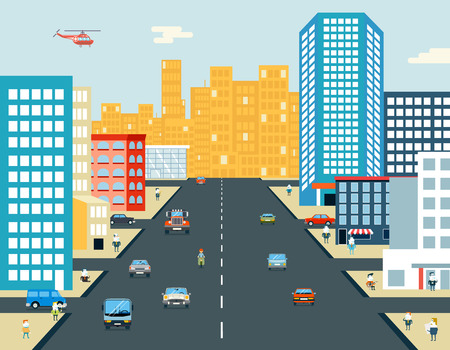 city live: Live City Street People Life Car Ride Background Flat Design Vector Illustration