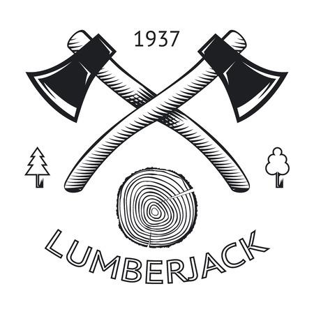 Lumberjack Symbol Hatchet Axe Wood Rings Cut Tree Trunk Icon Isolated Vector Illustration