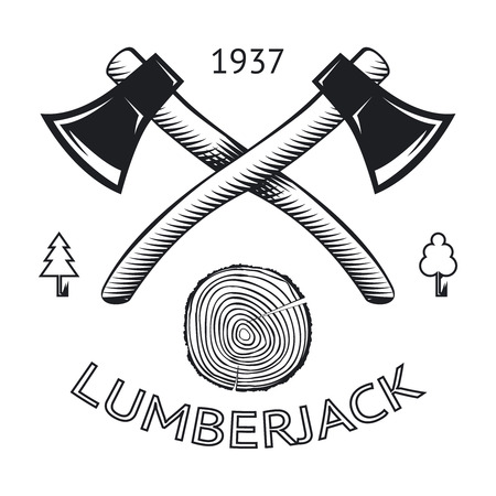 lumberjack: Lumberjack Symbol Hatchet Axe Wood Rings Cut Tree Trunk Icon Isolated Vector Illustration
