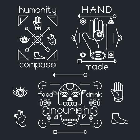 hunger: Handmade Line Arrow Head Bone Hunger Eye Foot Heart Symbol Hands Icon Stylish Background Vector Illustration