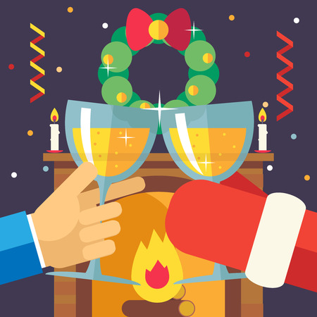 clink: New Year Christmas with Santa Claus Celebration Success and Prosperity Symbol Hands Holds a Glasses Drink Icon on Stylish Fireplace Background Modern Flat Design Vector Illustration Illustration