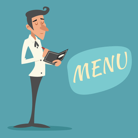 accepts: Vintage Waiter Garcon Accepts Order Symbol Restaurant Menu Icon on Stylish Background Retro Cartoon Design Vector Illustration Illustration