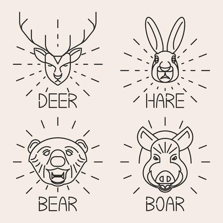 bucks: Animals line logo Set Nature Symbol Deer Bear Hare Boar Icons Isolated Vector Illustration