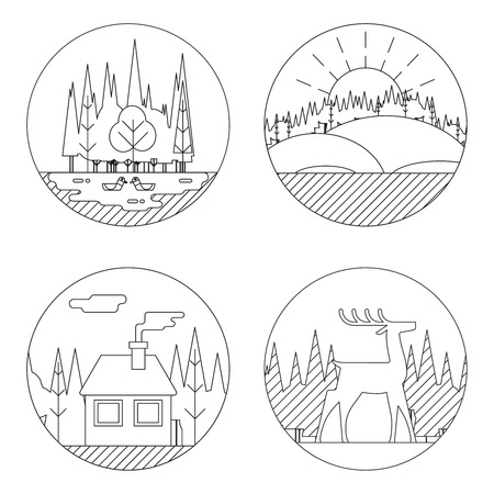 lake house: Nature Landscapes Logo Outdoor Life Symbol Lake Forest House Deer Duck Icons Isolated Vector Illustration