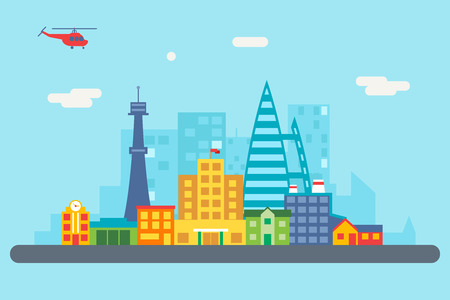 city Street Landscape Real Estate Skyscrapers Skyline Background Flat Design Vector Illustration