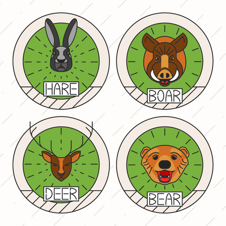 Animals icon Set Nature Symbol Deer Bear Hare Boar Icons Isolated Vector Illustration Vector