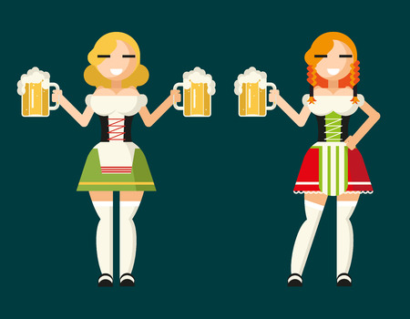 Oktoberfest Girls Female Characters Icons Traditional Costumes with Accessories Flat Design Card Vector Illustration Concept Vector