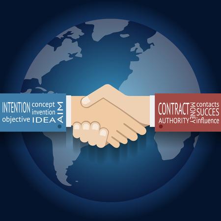 saludo de manos: Icono Asociaci�n Internacional Empresario Handshake s�mbolo en mapa del globo del mundo de fondo Ilustraci�n plana de dise�o vectorial Vectores