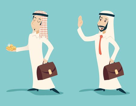 Retro Vintage Arab Businessman with Gold Greeting Business Proposal  Cartoon Characters Set Icon on Stylish Background Design Vector Illustration
