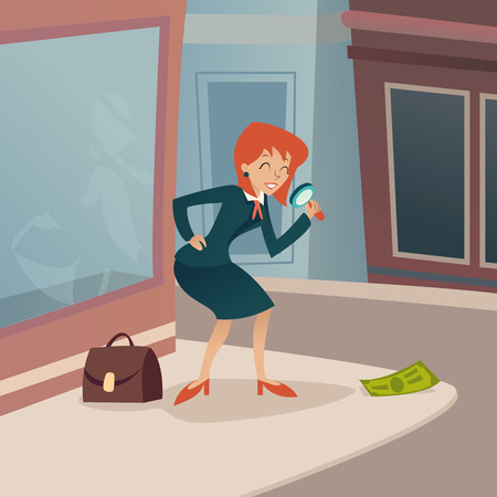 considering: Businesswoman Character with Magnifying Glass and Briefcase Considering Money Possibility Development Bill Victory Icon on Stylish City Street Background Retro Cartoon Design Vector Illustration