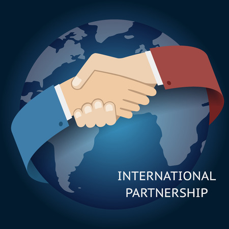 International Partnership Icon Businessman Handshake Symbol on Globe World Map Background Flat Design Vector Illustration