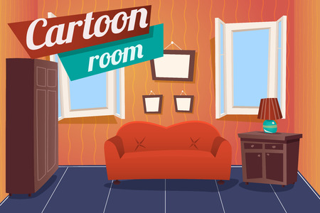 davenport: Cartoon Apartment Livingroom Interior House Room Retro Vintage Background Vector Illustration