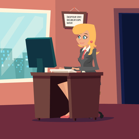 office interior: Businesswoman Character at desk working on computer Stylish Room Background Retro Cartoon Design Vector Illustration