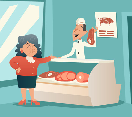 Granny Old Woman in Meat Shop Talk with Seller Retro Vintage Cartoon Character Icon on Stylish Background Design Vector Illustration