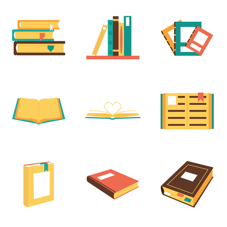 book logo: Flat isometric book icons symbols logos isolated set template for web vector illustration