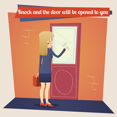 knocking: Business Concept Template Businesswoman with Briefcase Knocking at Customer Door on Stylish Background Retro Cartoon Design Vector Illustration Illustration