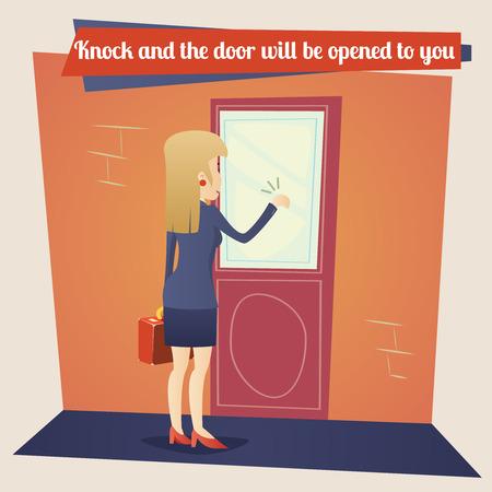Template Business Concept Zakenvrouw met Briefcase Knocking op Customer Deur op Stijlvolle Retro Achtergrond van de Cartoon Ontwerp Vector Stock Illustratie
