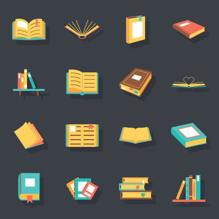 pile books: Flat isometric book icons symbols isolated set template for web vector illustration Illustration