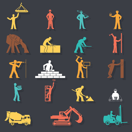 manual worker: Builders construction workers with tools and equipment machinery silhouettes icons set on Stylish Background   vector illustration Illustration