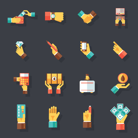 business people shaking hands: Business Hands Symbols Finance Accessories Icons Set Flat Design Concept Template on Stylish Background Vector Illustration Illustration