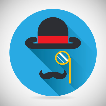 monocle: Gentleman Accessories Symbol Bowler Hat and Monocle Mustache Silhouette Icon Stylish Background Modern Flat Design Vector Illustration