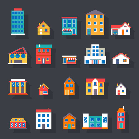 現代のトレンディなレトロな住宅ストリート フラット アイコン設定ベクトル イラスト