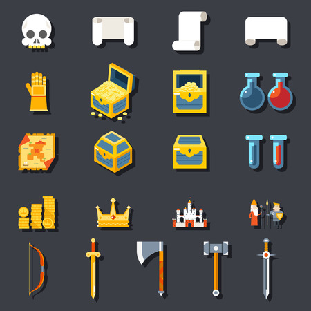 rpg: RPG Game Accessories Icons Set Scrolls Treasure Chests Potions Weapons Flat Design Template Vector Illustration