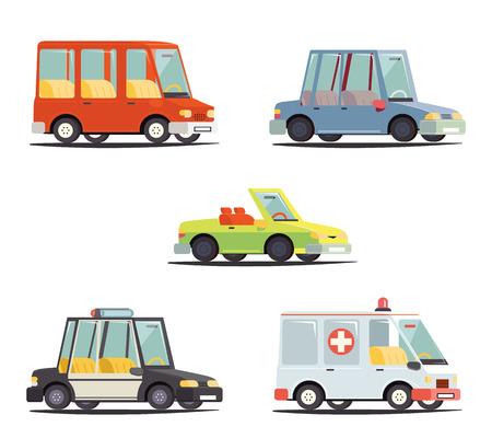 patrol car: Cartoon Transport Car Vehicle Icon Design Stylish Retro Flat Vector Illustration Illustration