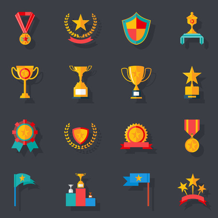 trophy winner: Flat Design Awards Symbols and Trophy Icons Set Isolated Vector Illustration