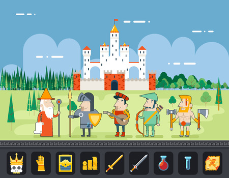 bard: RPG Adventure  Mobile Tablet PC Web Game Screen Concept Mage Knight Archer Bard Barbarian Warrior Characters Flat Design Castle Cartoon Magic Fairy Tail Icon Landscape Background Template Vector Illustration