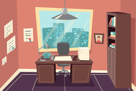 office paper: Stylish Business Working Office Room Background Desk City Window File Cabinet Retro Cartoon Design Template Concept Vector Illustration Illustration