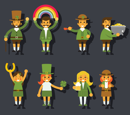 leprechaun: Leprechauns Ggnomes Characters set Celebration St. Patrick Icons Flat Design Icon Stylish Background Template Vector Illustration