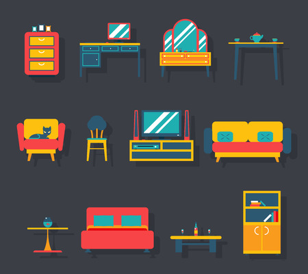 tv room: Flat Furniture Icons and Symbols Set for Living Room Vector Illustration